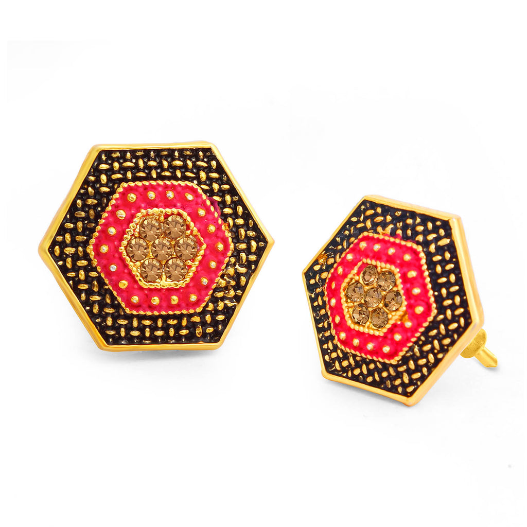 Sukkhi Vintage LCT Stone Gold Plated Hexagon Pink Mint Meena Collection Stud Earring For Women-SUKKHI1-Earring