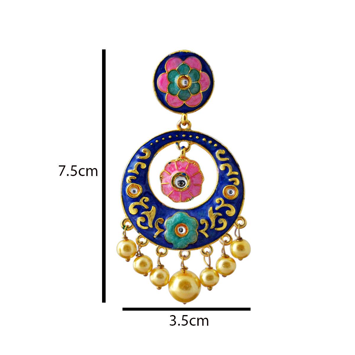 Floral Design Blue Color With Kundan Stone Dangler Earring-MK JEWELLERS1-Earring