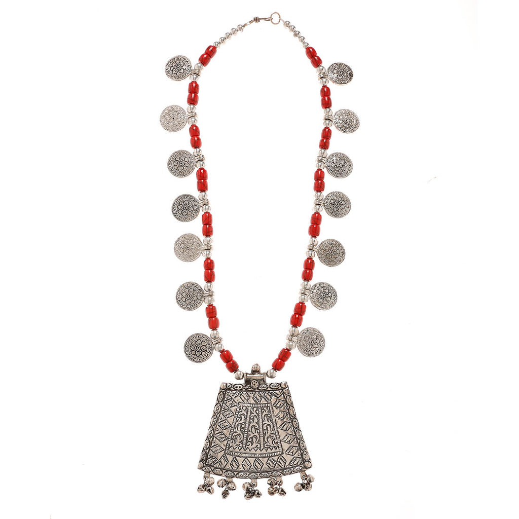 Oxidised Silver Plated Rectangle Shape Statement Pendant Geometric Design With Red Color Beads Long Coin Necklace By Imli Street-IMLI STREET-Necklace