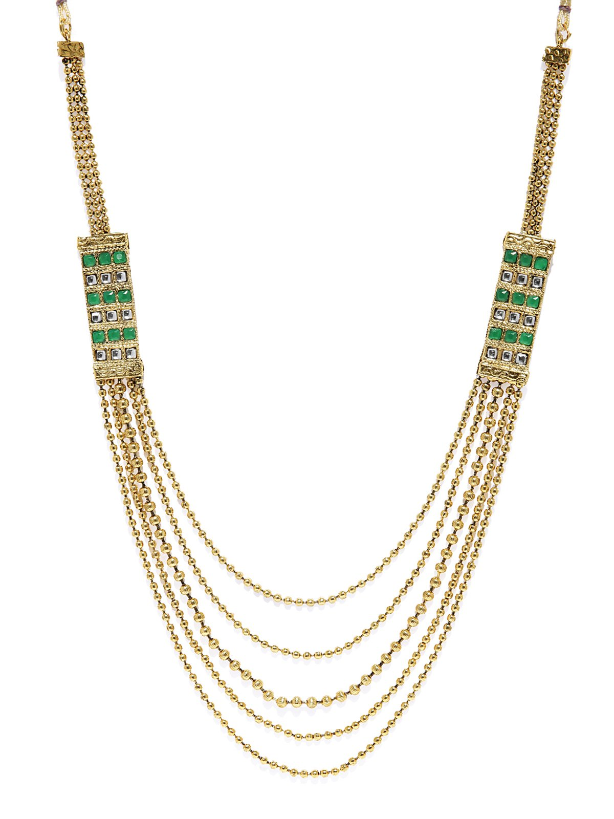 Gold Tone 5 Multi Layer Long Haram Traditional Necklace Set