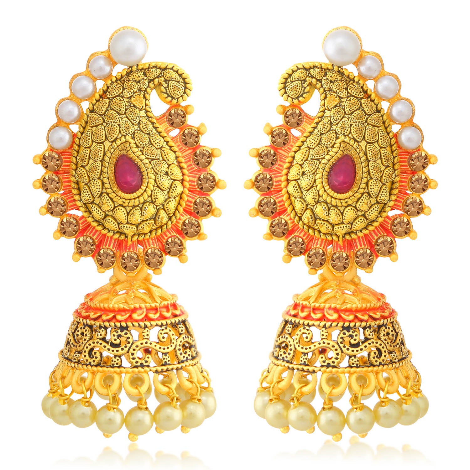 Sukkhi Marvellous LCT Stone Gold Plated Paisley Pearl Red Mint Meena Collection Jhumki Earring For Women-SUKKHI1-Earring