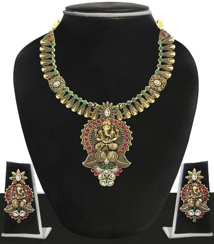 Zaveri Pearls Ganesha Antique Gold Temple Necklace Set