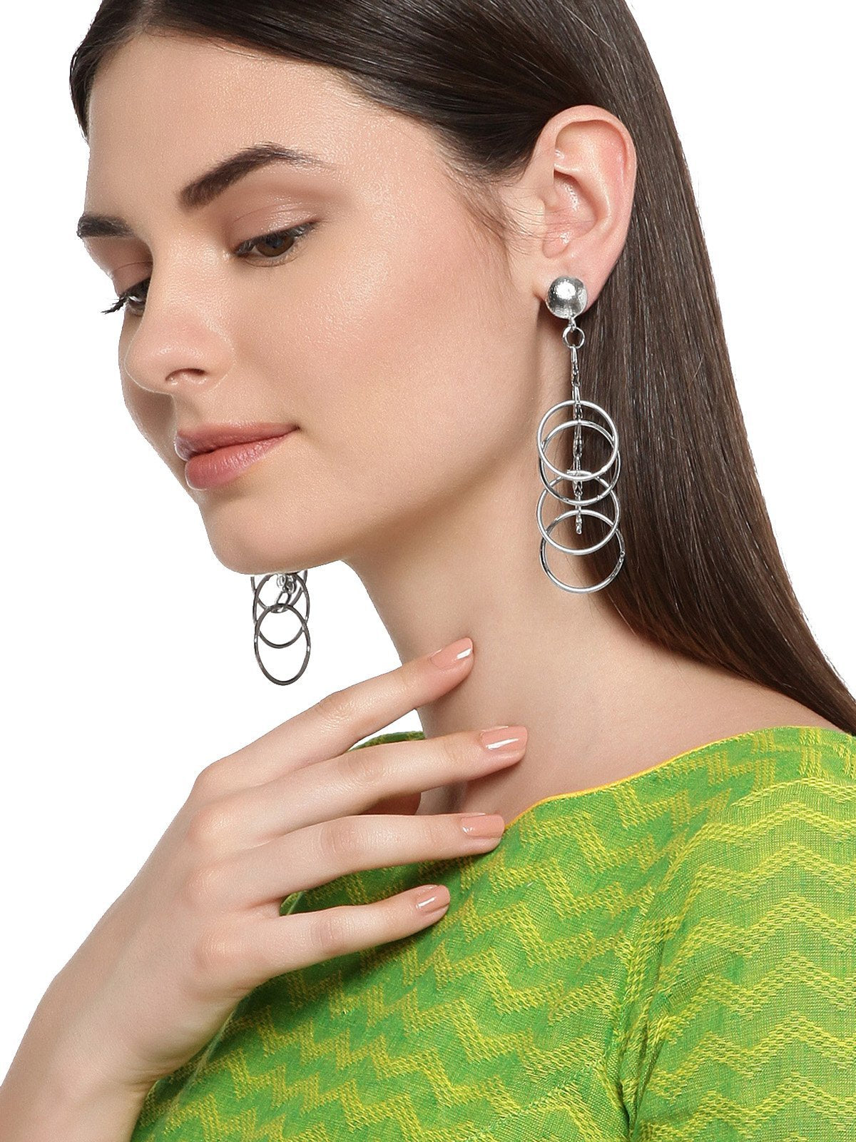 Combo Of 2 Silver Tone Multi Layer Rings Dangler Earring