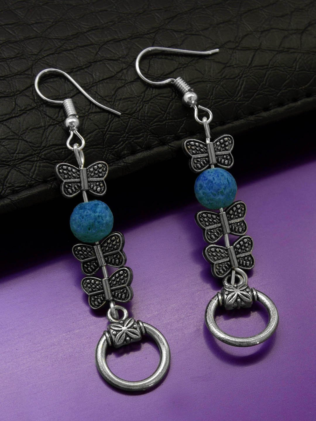 Shana Fashions Silver Plated Butterfly Design Wth Blue Color Lava Bead Handmade Drop Earring-SHANA FASHIONS-Earring