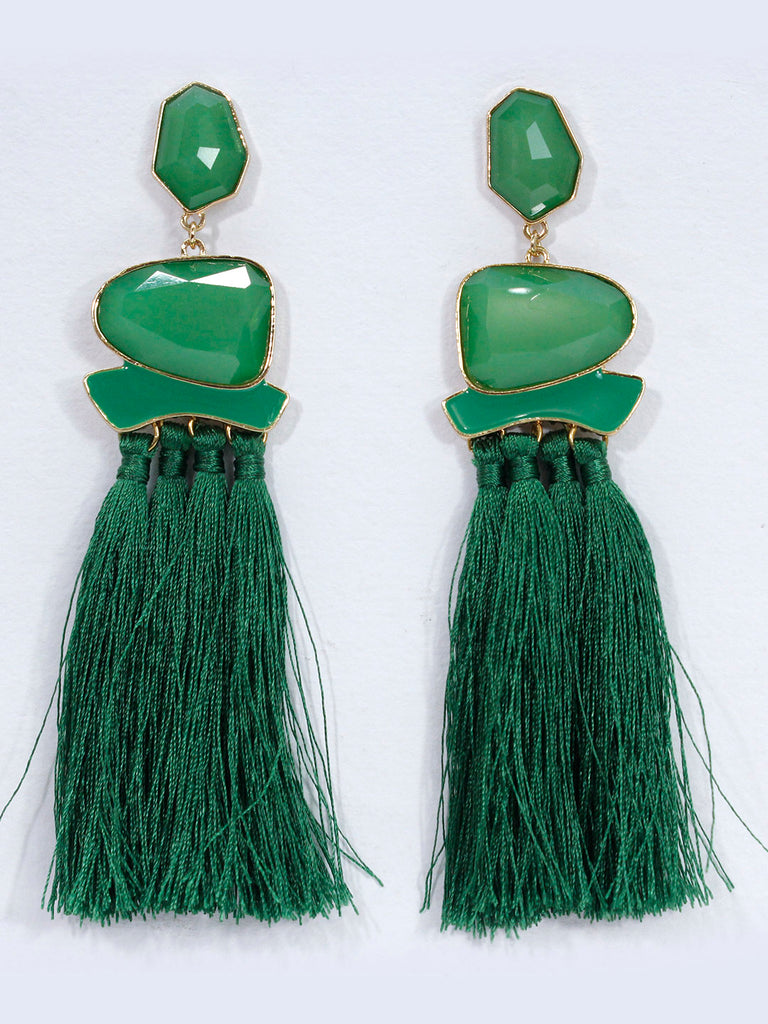 Aana Green Color Tassel Stud Earring