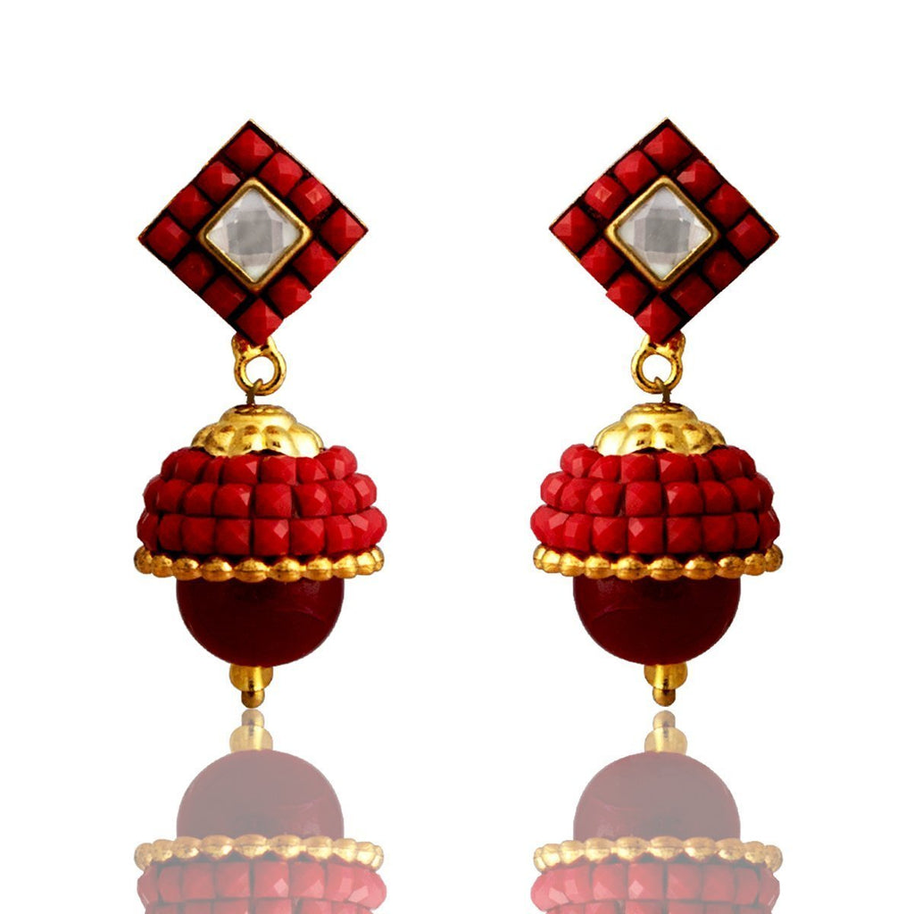 Fashion Earring Traditional Kundan Glass Beads Red Earring