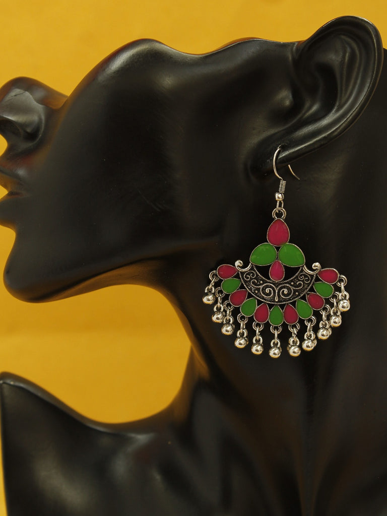Aana Silver Plating Pink And Green Color Floral Design Afghani Earring-AANA-Earring