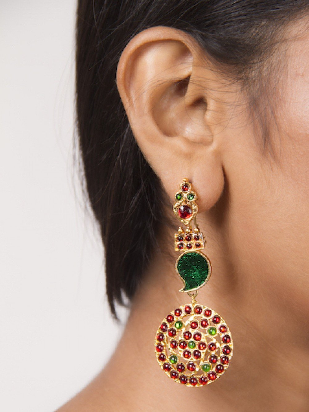 Paisley Long Studs With Round Motifs Earring