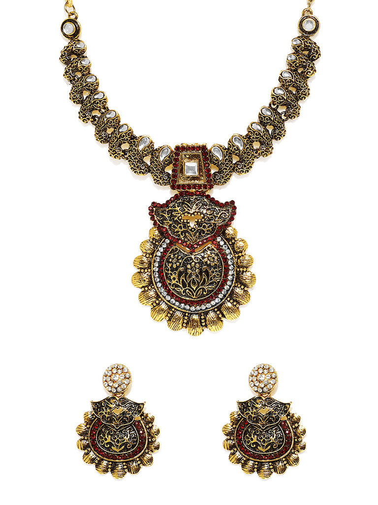 Zaveri Pearls Antique Gold Plated Ethnic Necklace Set-ZAVERI PEARLS1-Necklace Set