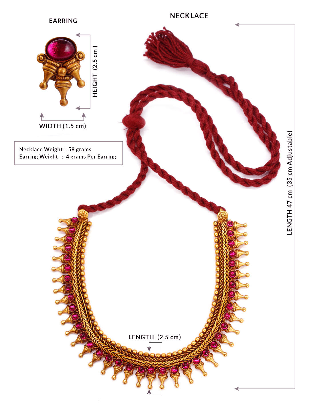 Avismaya Temple Jewellery Matt Gold Antique Finish With Red Plasto Stones Choker Necklace Set-AVISMAYA1-Necklace Set