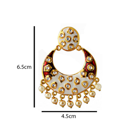 Red And White Meenakari Tribal Dual Half Moon Design With Kundan Earring