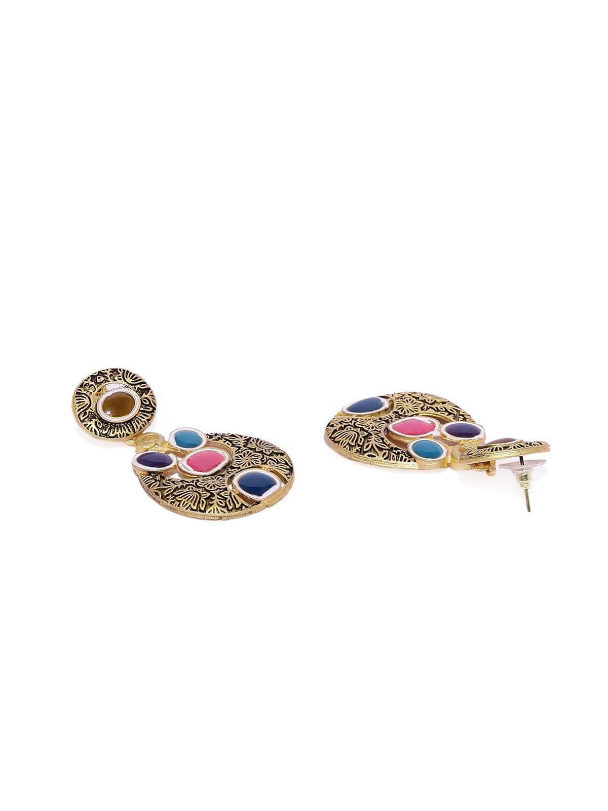 Antique Gold Tone Multicolor Dangler Earring