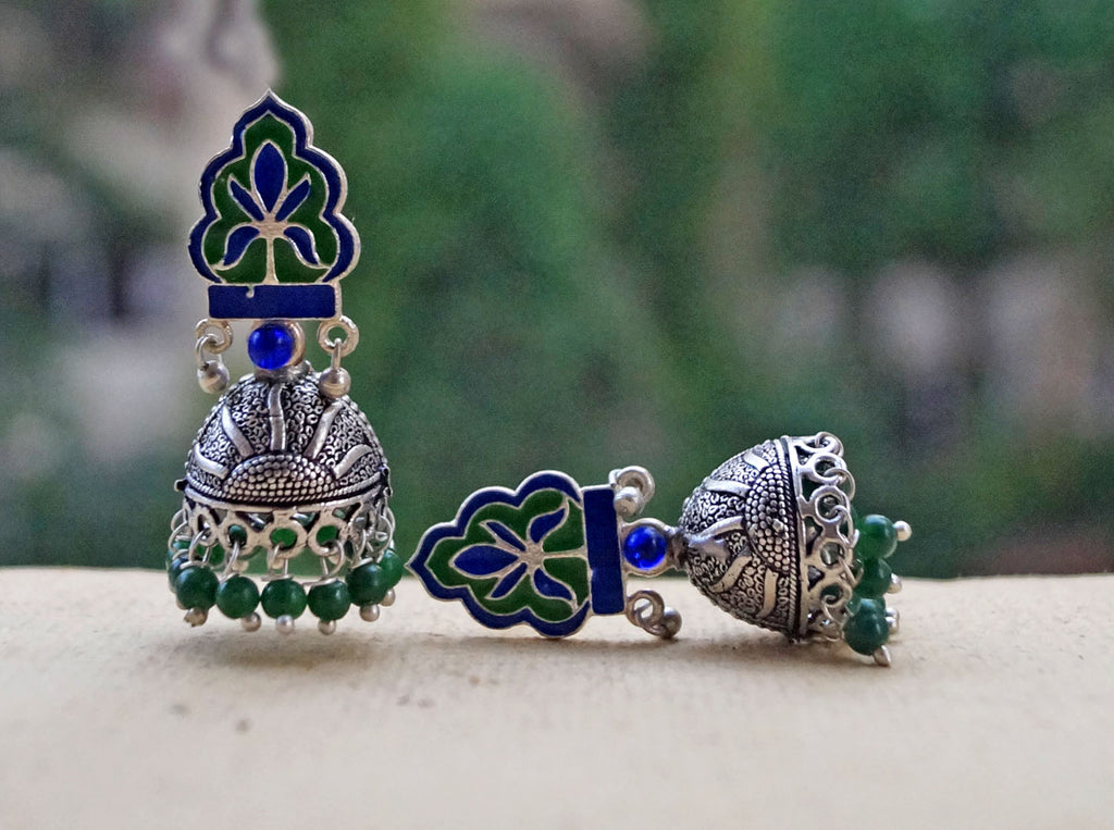 Green Sunshine Beads Floral Design Jhumka Earring-ANETRA1-Earring