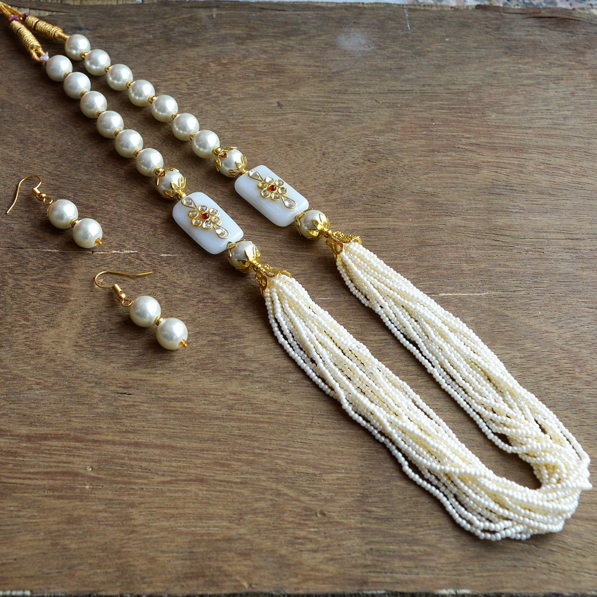 Eid Ramadan Special Meenakari Kundan Chid Mala White Color Necklace Set