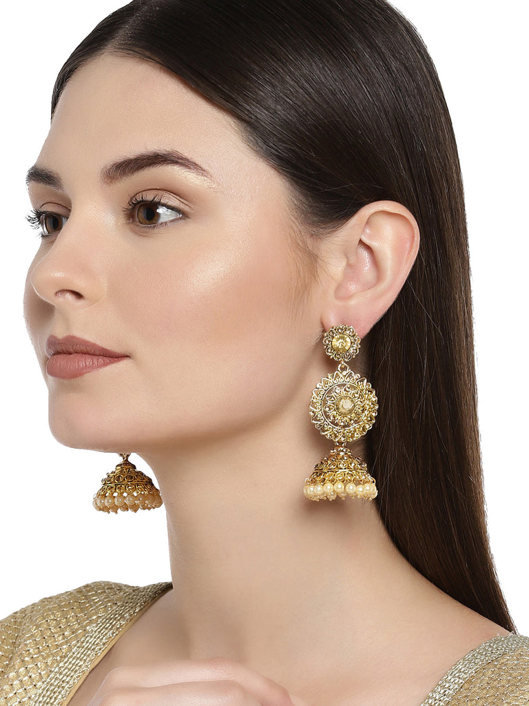 Zaveri Pearls Traditional Gold Plated Jhumki Earring