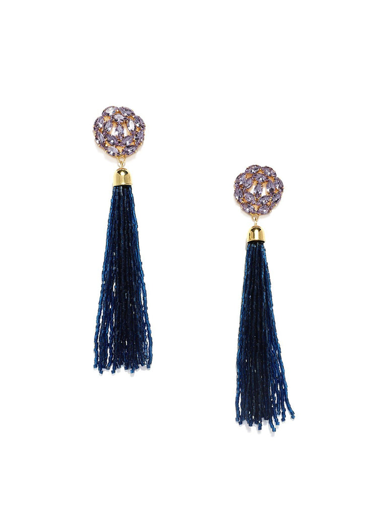 Sparkling Crystals Fashion Forward Tassel Earring