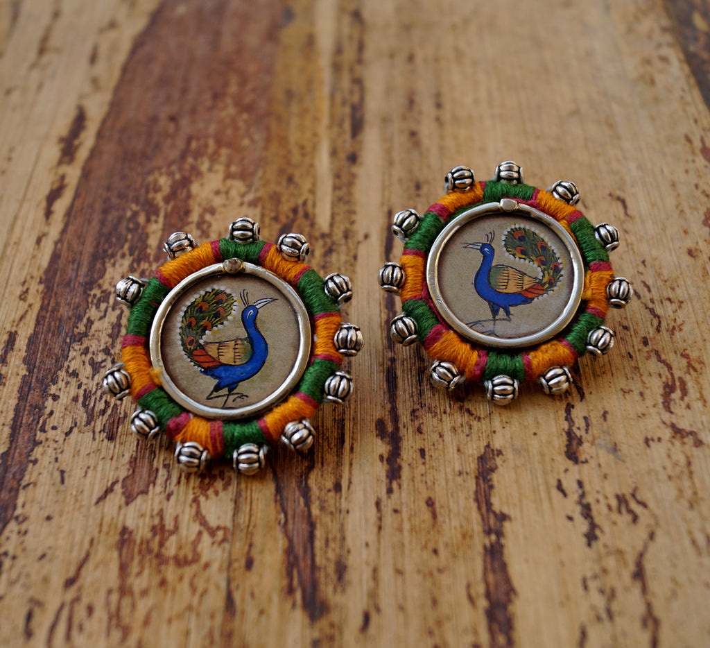 Green Colour Peacock Design Stud Earring