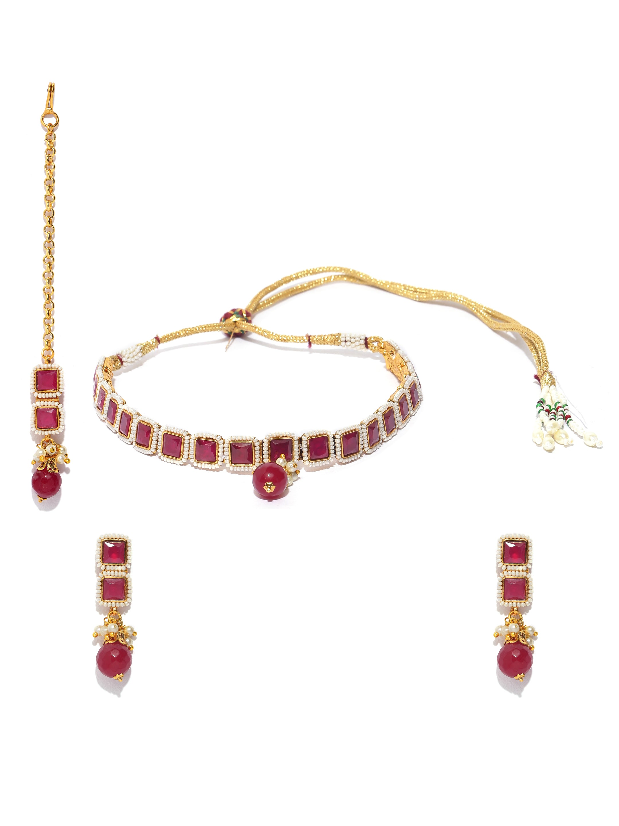 Pretty High Quality Red Color Choker Necklace Set With maang Tikka-ARADHYAA JEWEL ARTS1-Jewellery Set