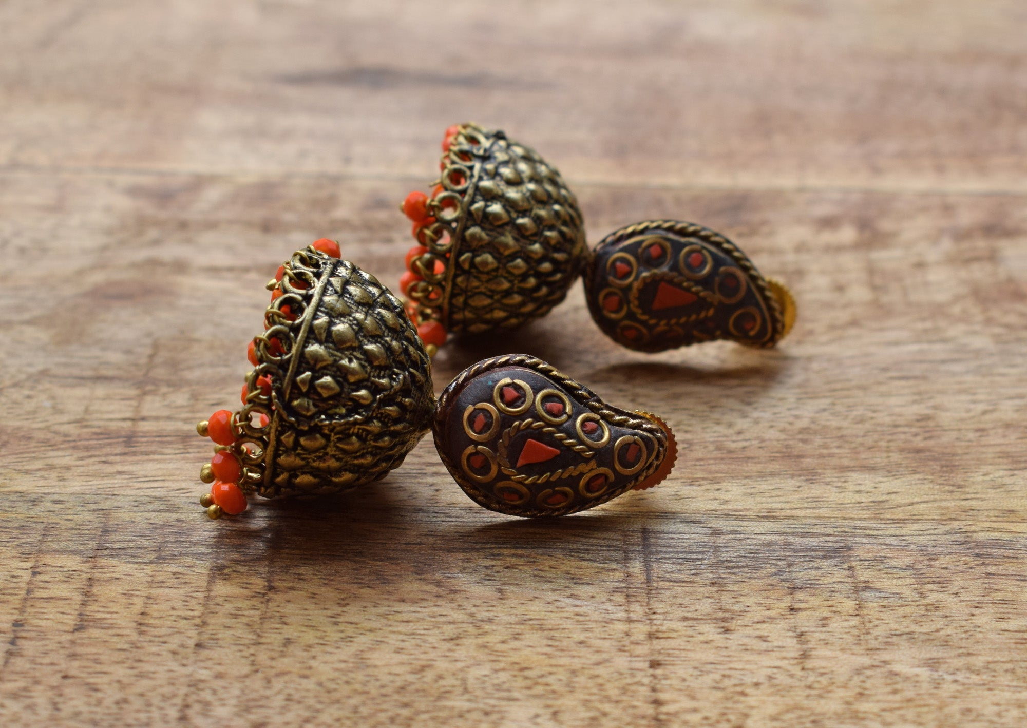 Orange Color Paisley Jhumka Earring-ANETRA1-Earring