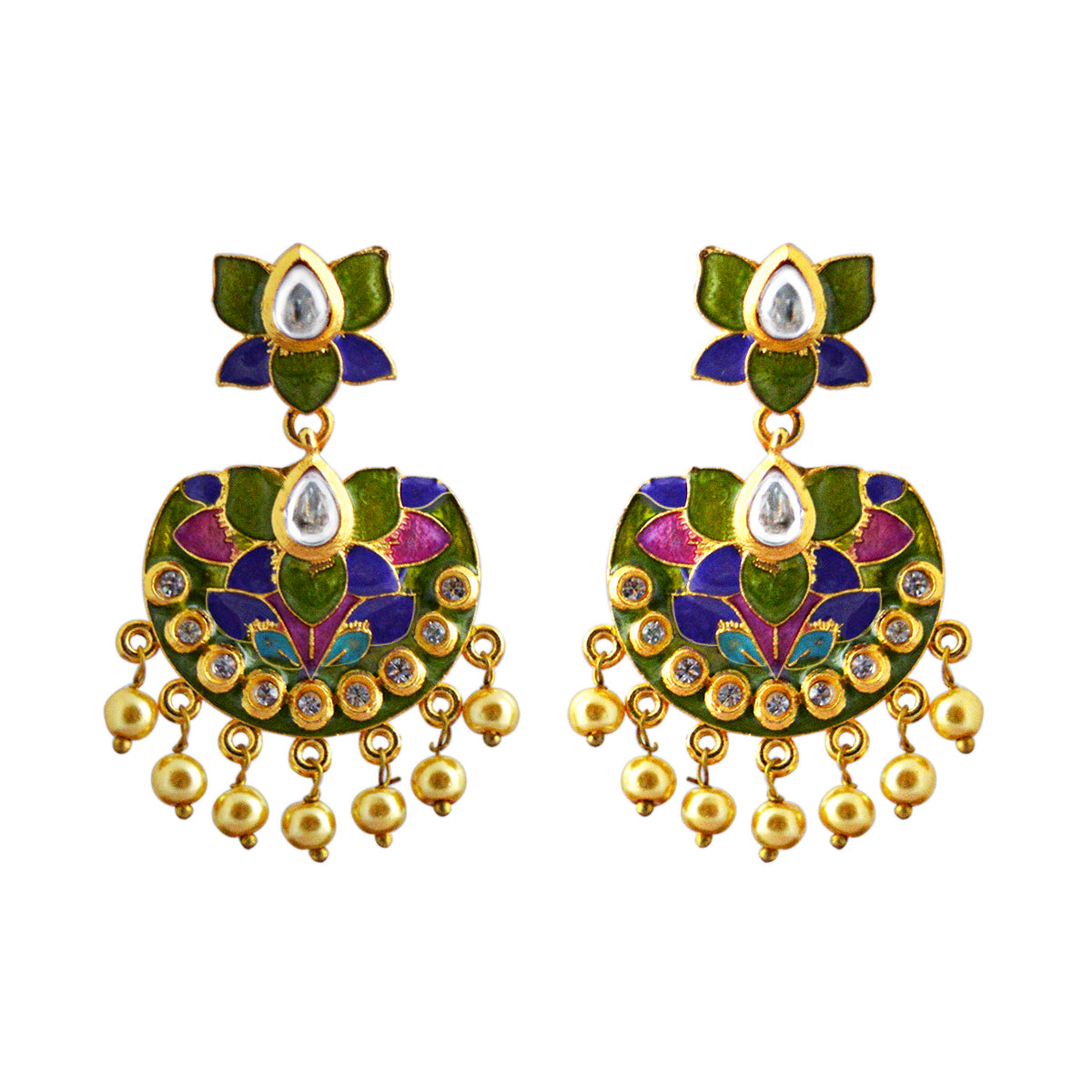 Green And Blue Color Double Layer With Kundan Stone Meenakari Dangler Earrings-MK JEWELLERS1-Earring