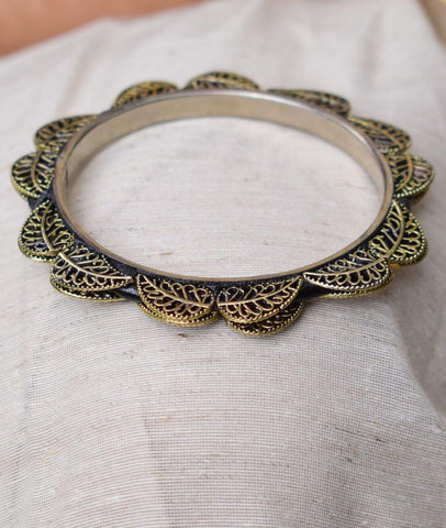 Oxidized Metal Bangle- Golden Leaf Pattern