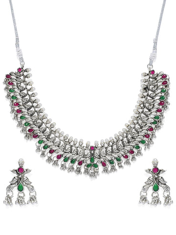 Zaveri Pearls Antique Silver Peacock Inspired  Necklace Set