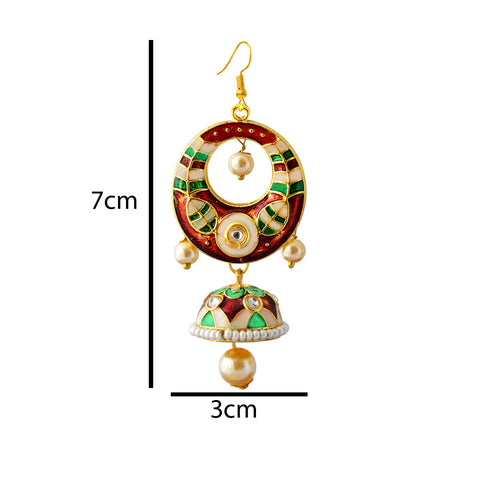 Green And Maroon Meenakari Tribal Dual Half Moon Design With Kundan Earring