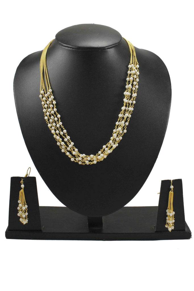 White Pearl Golden Necklace Set For Ethnic Wear