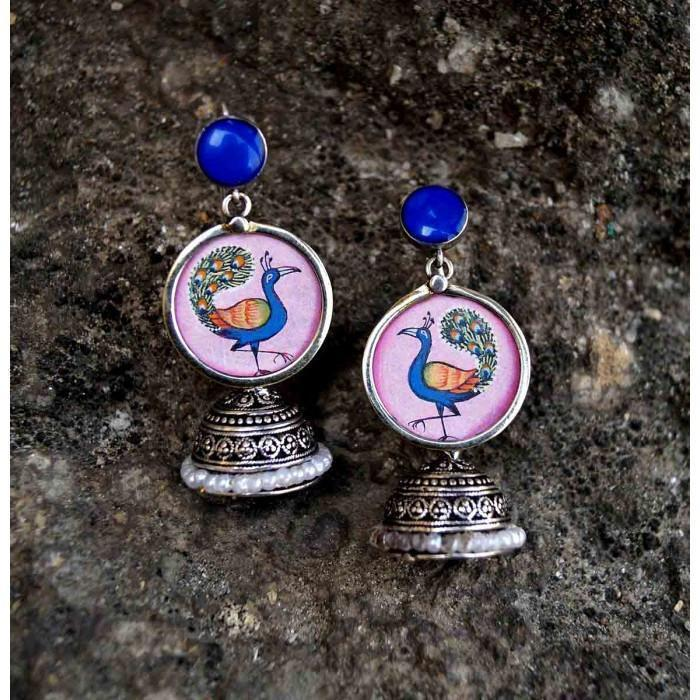 Peacock Handpainted Jhumka Earring