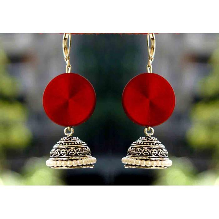 Red Statment Jhumka Earring