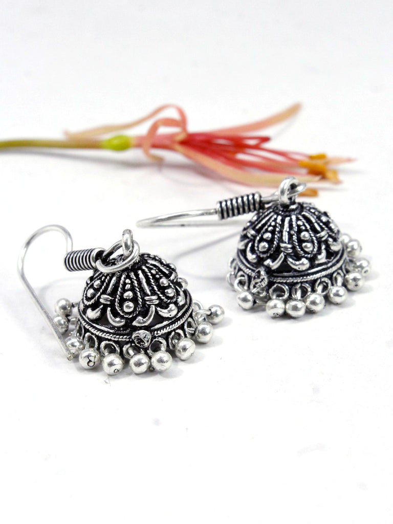 Oxidised Floral Design Small Jhumka Earring
