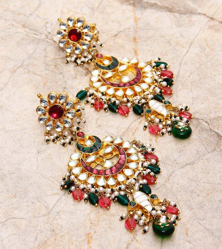 22 Carat Gold Plated Kundan Earrings