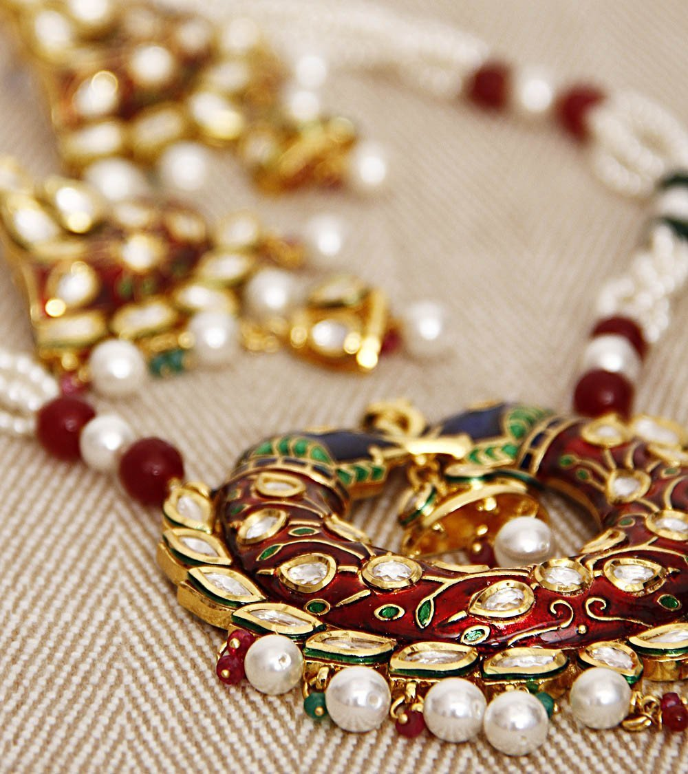 22 Gold Plated High Quality Meena Kundan Peacock Set