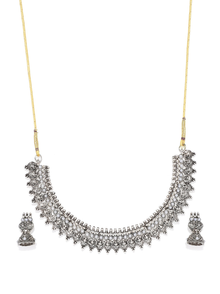 Zaveri Pearls Antique Silver Goddess Necklace Set-ZAVERI PEARLS1-Necklace Set
