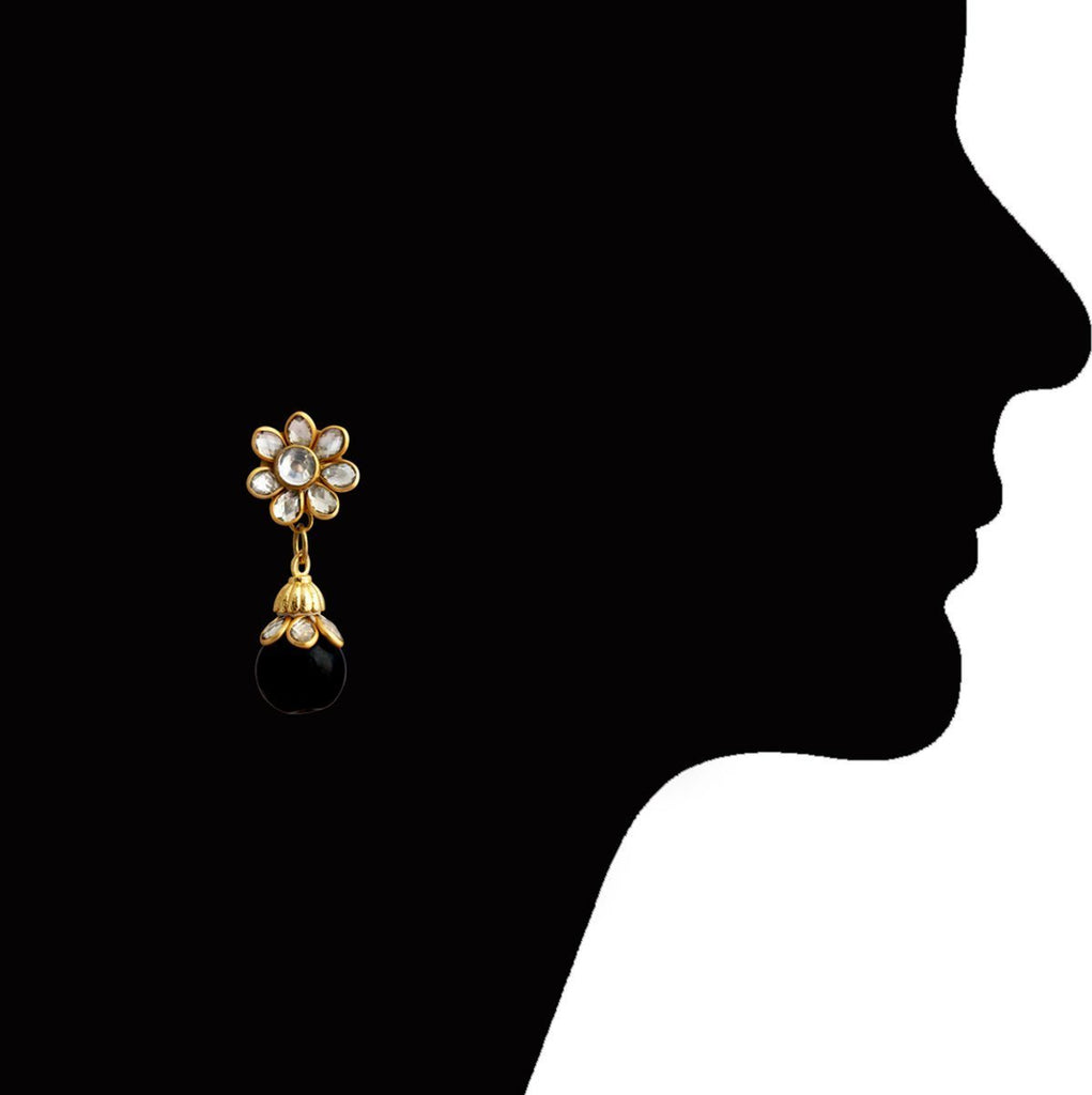 Latest Eid Ramadan Special Kundan Gold Plated Floral Shape Black Drop Earring