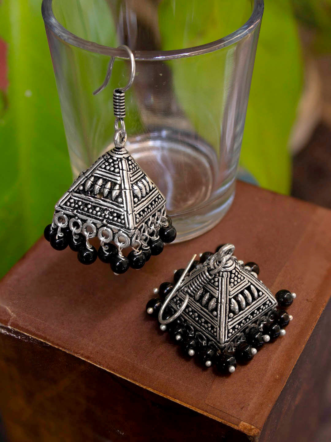 Oxidized Silver Plated Geometric Design With Black Color Hanging Beads Jhumka Earring-OXIDIZED-Earring