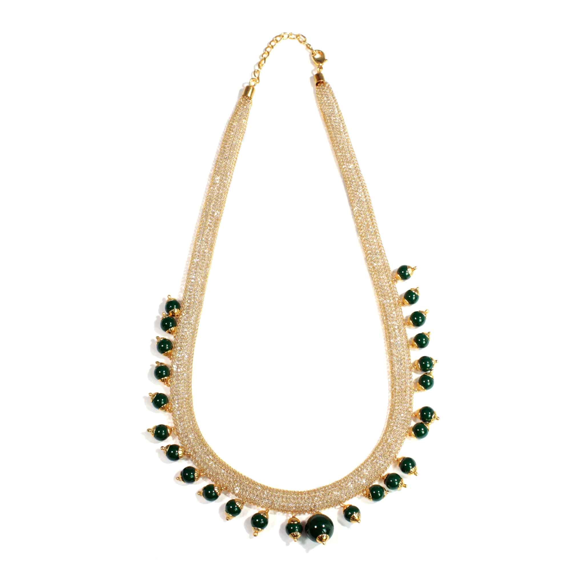 Boho Style Gold Plated Wire Mesh Necklace Set With Dark Green Beads