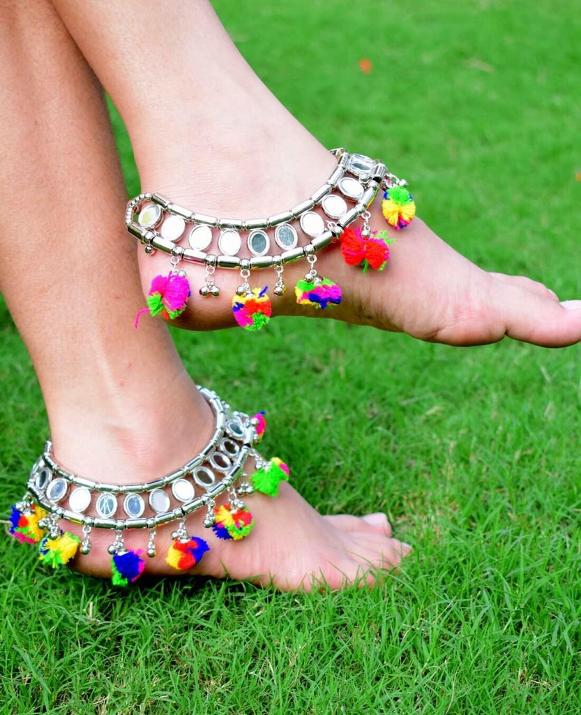 GiftPiper Metal Anklet with Mirrors and Pom Pom Tassels