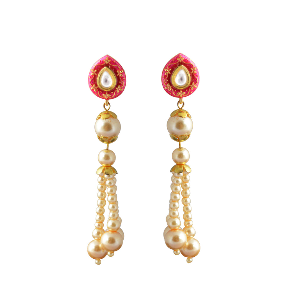 Mk Jewellers Pink Color Meenakari Drop Earring-MK JEWELLERS1-Earring