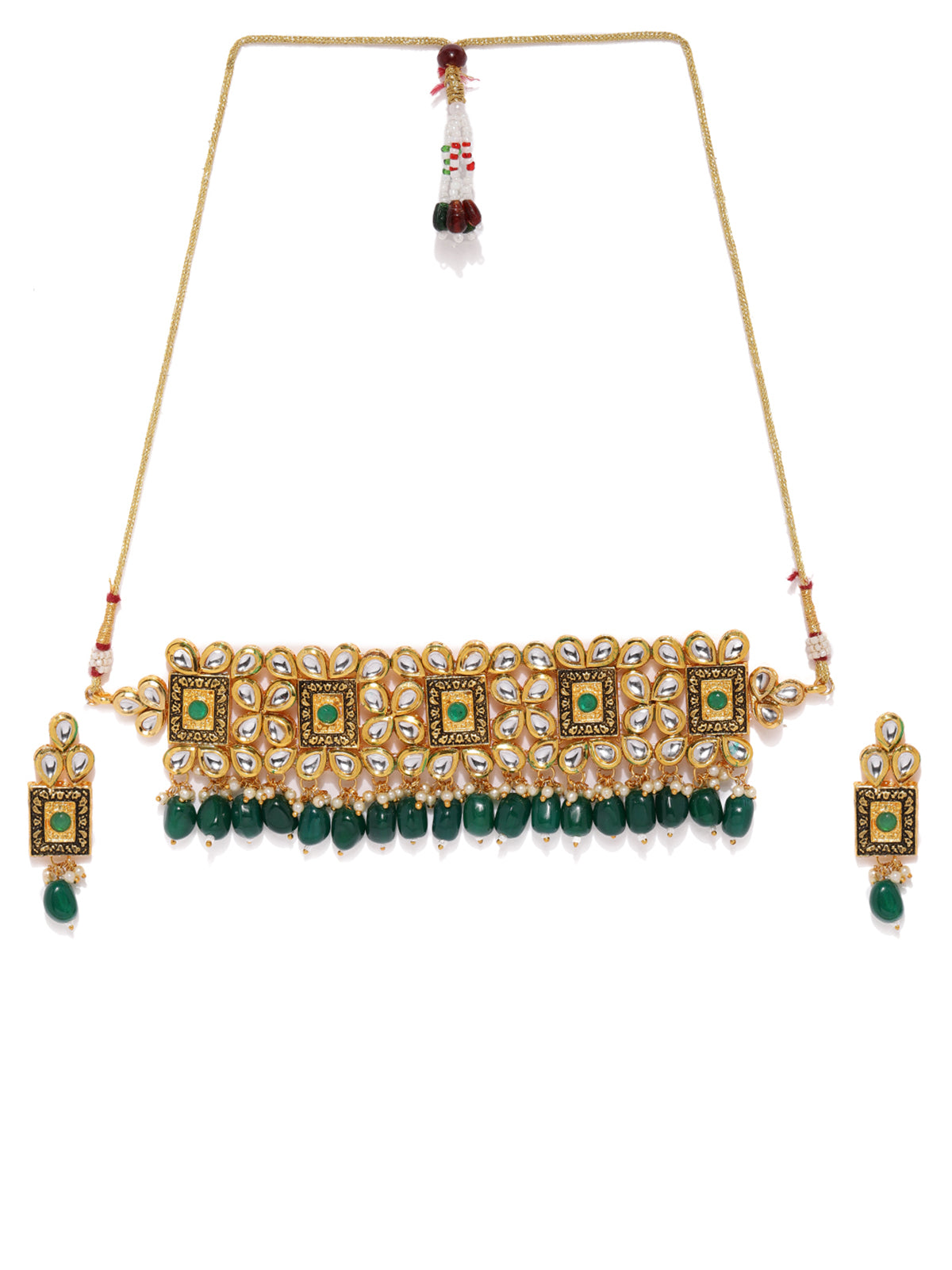 Zaveri Pearls Gold Tone Kundan And Dangling Green Beads Choker Necklace Set-ZAVERI PEARLS1-Necklace Set