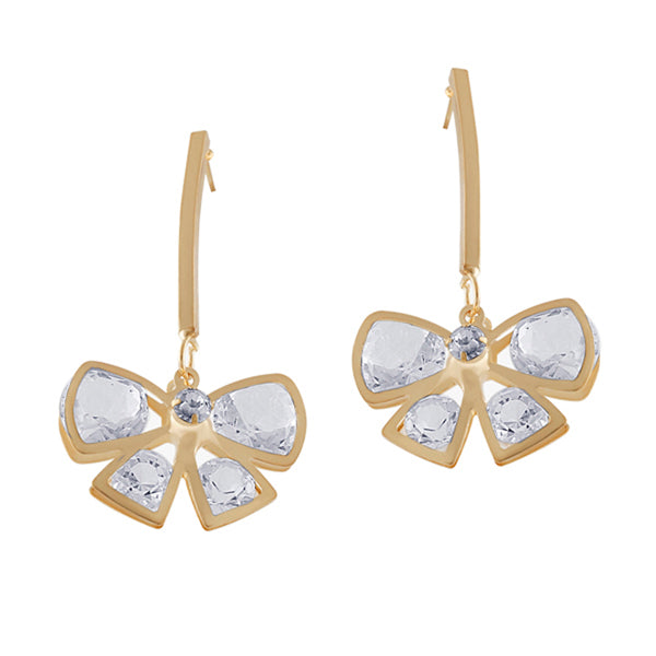Sweet Golden Bow Crystal Earring