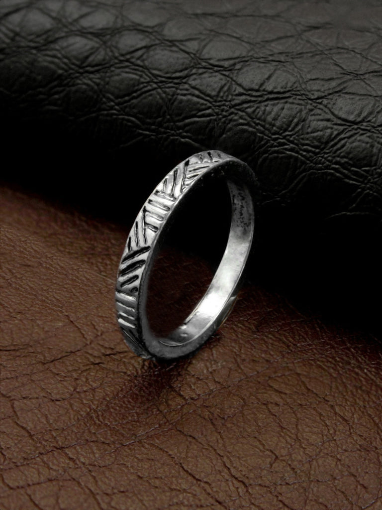 AANA Oxidised Silver Plated Geometric Design Finger Ring-AANA-Finger Ring