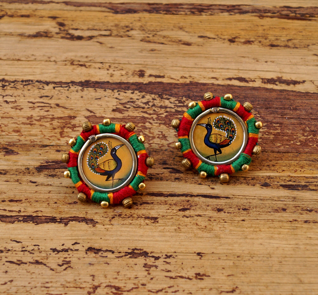 Orange And Green Colour Peacock Design Stud Earring