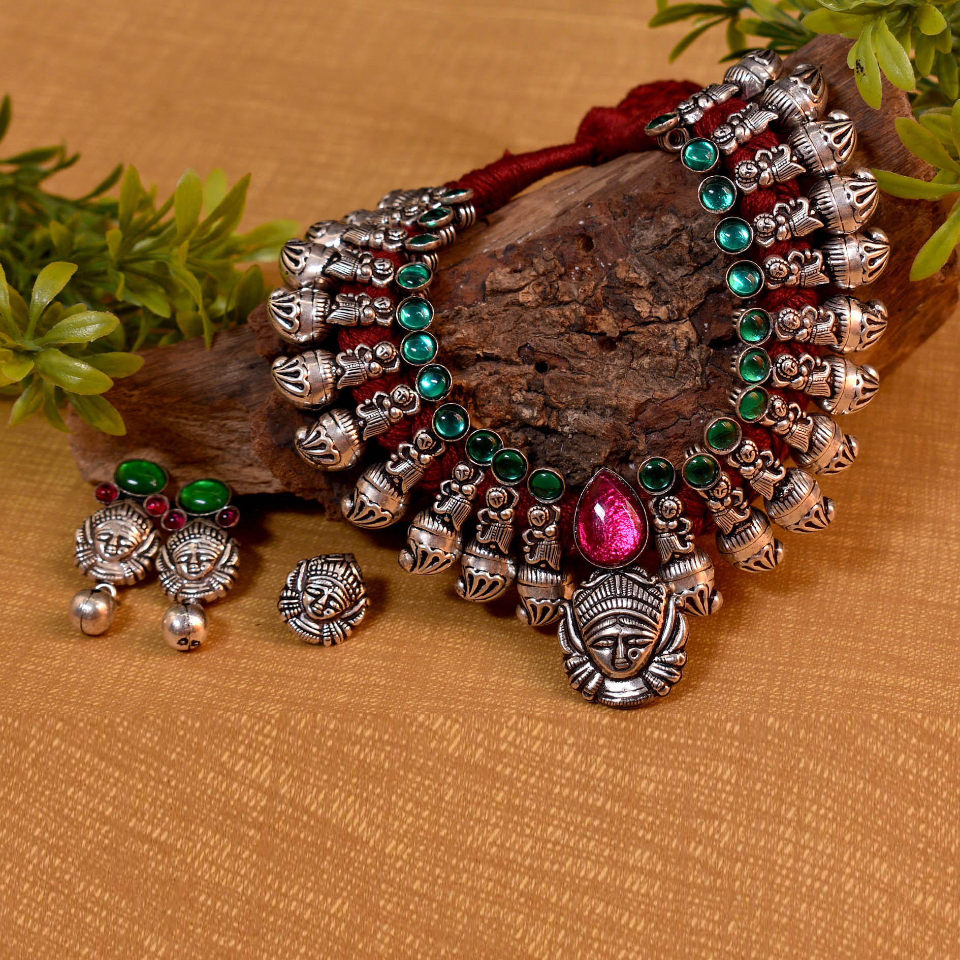 Oxidised German SIlver Durga Design And Stone Necklace Set With Nose Pin
