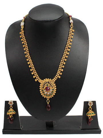Avismaya Antique Gold Plated 2 Line Necklace With Round Shape Pendant Necklace Set