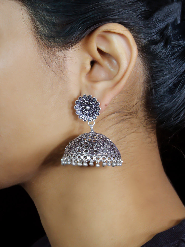 Oxidised German Silver Flower Design Big Jhumka Earring-OXIDIZED-Earring