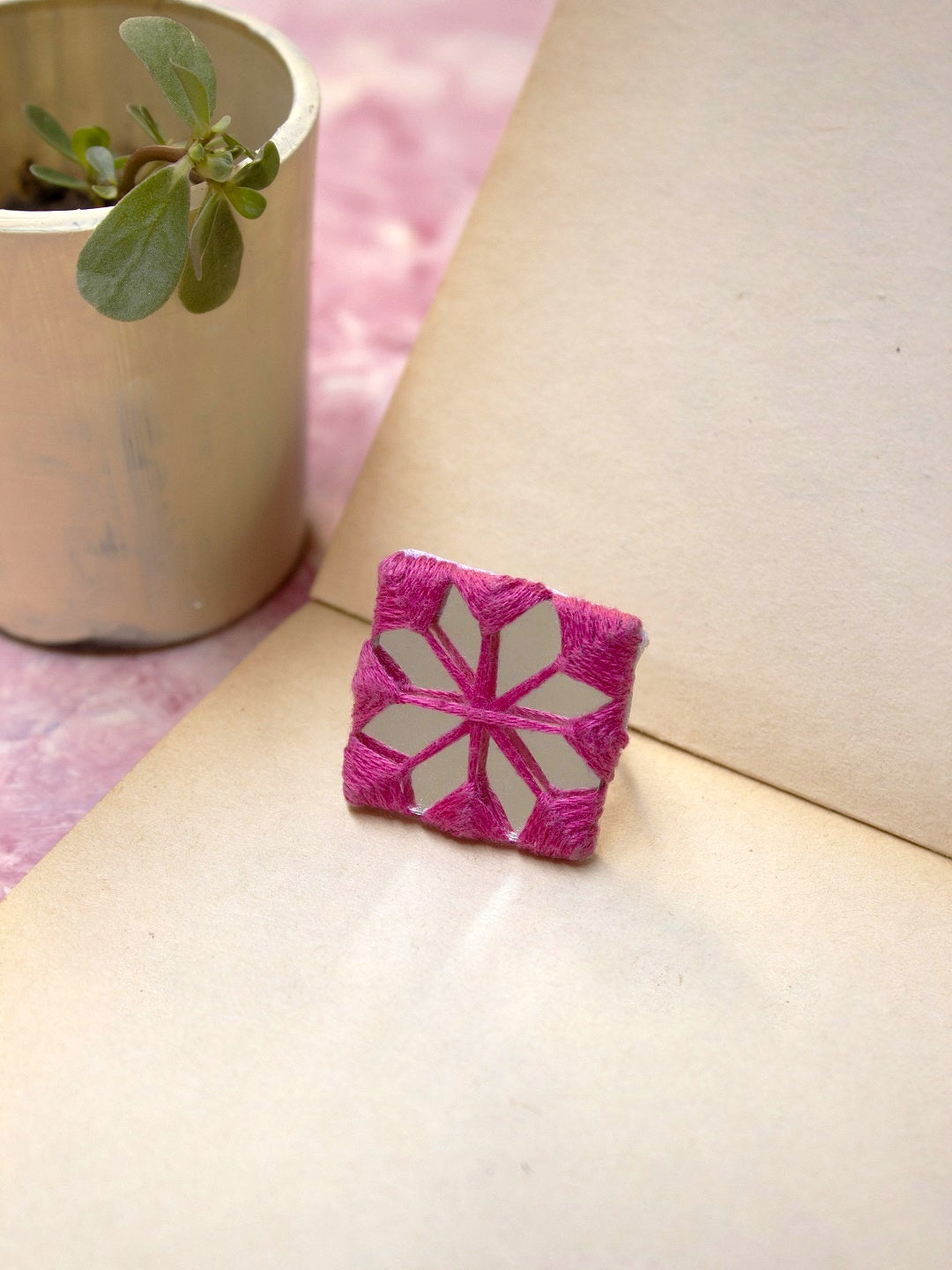 Handmade Fabric Square Shaped Mirror Design Finger Ring By Hands To Heart-HANDS TO HEART-Finger Ring