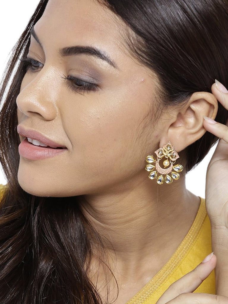 Zaveri Pearls Gold Tone Embellished With Kundan And Meenakari Stud Earring For Women-ZAVERI PEARLS1-Earring