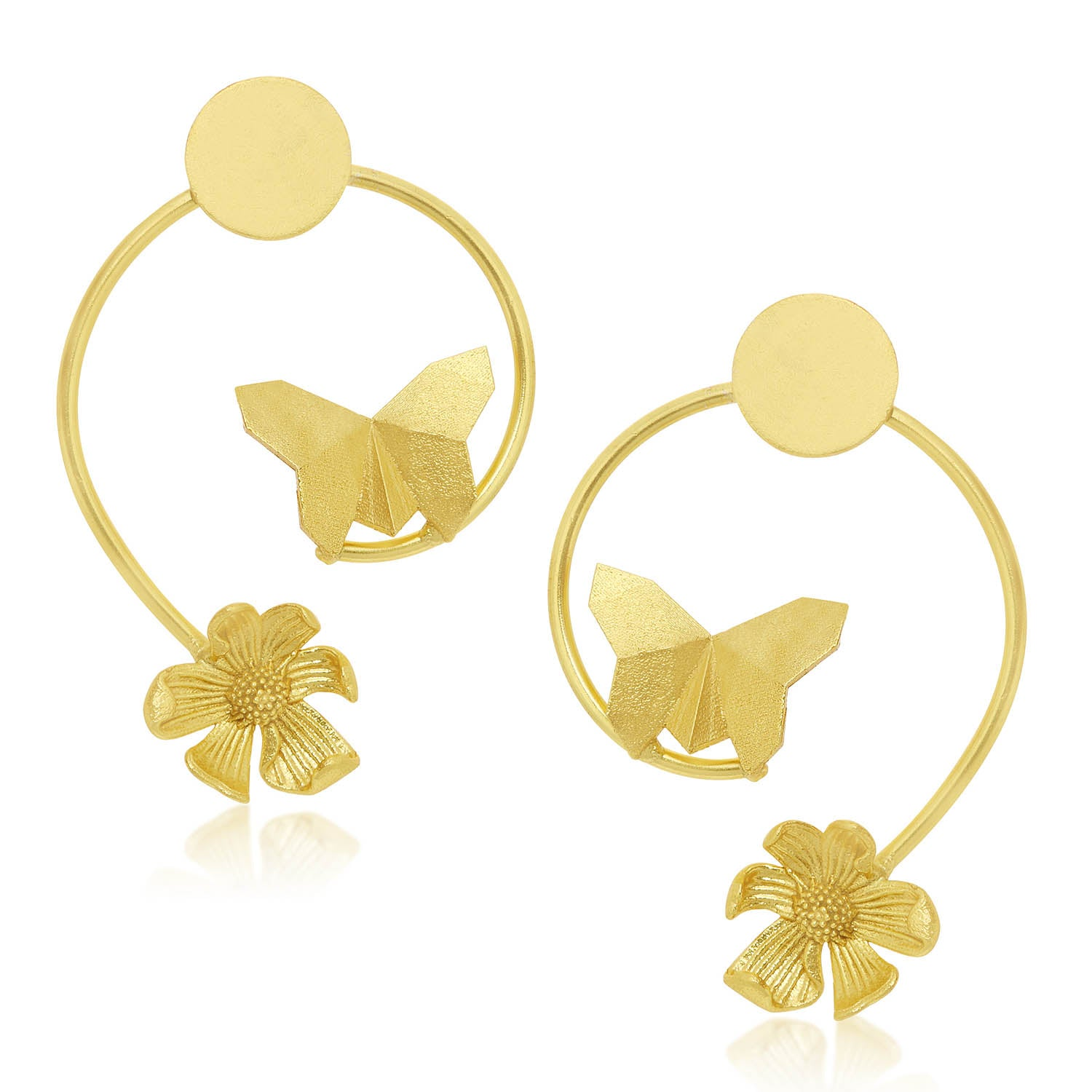 Sukkhi Classic Gold Plated Butterfly and Flower Stud Earring For Women-SUKKHI1-Earring