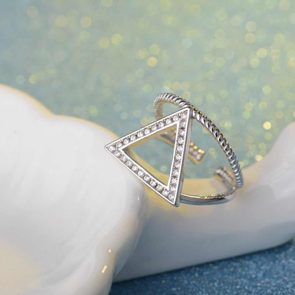 Sukkhi Adorable Triangle Rhodium Plated Finger Ring for Women-SUKKHI-Finger Ring